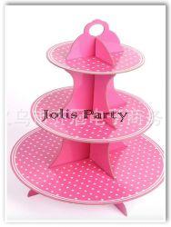 Giá để cupcake bằng bìa - bi hồng nhỏ
