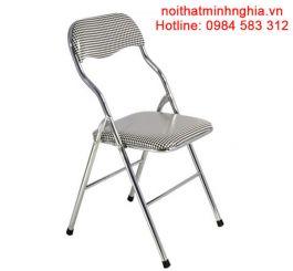 G01M-D002 ghế ăn chân gấp mạ nội thất Hoà Phát đệm, tựa màu kẻ caro đen, trắng