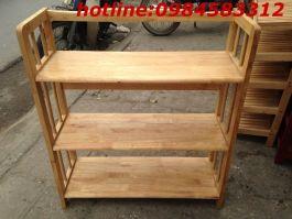 kệ sách 3 tầng 80 KSG3T80 gỗ tự nhiên
