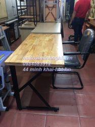 bàn làm việc chân sắt CK1206 gỗ cao su