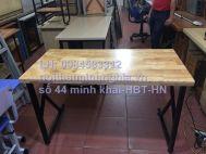 bàn làm việc chân sắt CK1406 mặt gỗ cao su