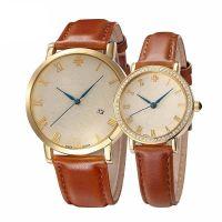 Đồng hồ cặp JULIUS JA585 dây da (nâu)