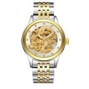 Đồng hồ nam cơ tự động B8808 dây thép (trắng vàng)