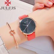 Đồng hồ nữ JULIUS Hàn QUốc JA978 dây da đỏ