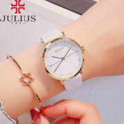 Đồng hồ nữ JULIUS Hàn QUốc JA978 dây da trắng