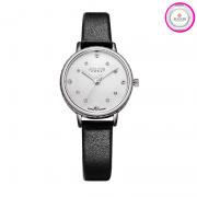 Đồng hồ nữ JULIUS JA-943 dây da đen mặt trắng