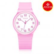 Đồng hồ nữ Julius Ja1055B dây silicon hồng