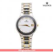 ĐỒNG HỒ nữ VALENCE  VC008 dây thép mặt trắng viền vàng