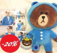 Gấu bông Brown nón xanh/hồng