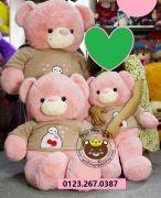Gấu bông Teddy áo len Baymax hồng (90cm,1m2, 1m4)