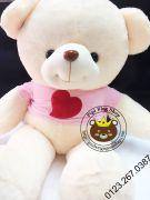 Gấu bông teddy Hana áo tim hồng (1m2, 1m4)