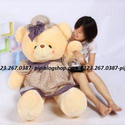 Gấu đầm Hana nón tím sang trọng (60cm, 80cm, 1m2, 1m5)
