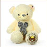 Gấu bông Teddy lông tơ Hàn quốc đeo nơ nhung xám (1m4)