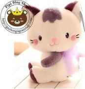 Gấu bông Mèo xinh nơ ruy băng tím (20cm, 30cm, 40cm)