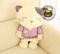 Mèo bông áo tím (60cm)