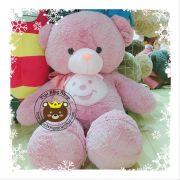 Gấu teddy hồng bụng gấu (80cm, 1m, 1m2)
