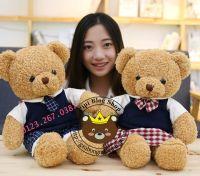 Gấu bông teddy baby váy quần caro (60cm)
