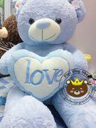 Gấu ôm tim Love lông siêu mịn xanh da trời (90cm, 1m2, 1m4, 1m7)