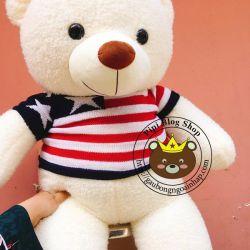 Gấu bông teddy trắng áo len sọc xanh đỏ (1m2)