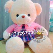 Gấu đầm hana váy hồng caro lông siêu mịn (60cm, 80cm, 1m2, 1m5)