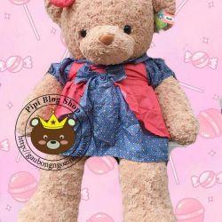 Gấu bông đầm chấm bi (60cm, 80cm, 1m2, 1m4)