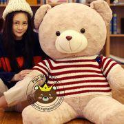 Gấu bông teddy lông xoắn bột siêu mịn Áo len đỏ (80cm, 1m2, 1m4)