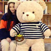 Gấu bông teddy lông xoắn bột siêu mịn Áo len xanh (80cm, 1m2, 1m4)