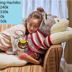 Gấu bông - Chó sói Hachiko (80cm, 1m, 1m2)