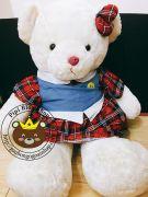 Gấu bông teddy đầm caro đỏ (1m2)
