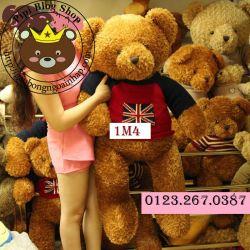 Gấu bông teddy xù áo len cờ Anh (1m4)
