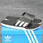 Dép Adidas Aqualette chính hãng màu đen trắng sọc trắng