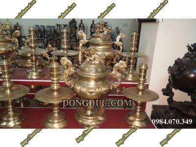 Bộ đồng thờ cúng vàng trơn 3 món cao 50cm