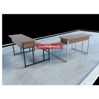 Bàn ghế học sinh không tựa (mặt gỗ cao su)