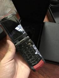 Vertu Ayxta All Black Red Leather