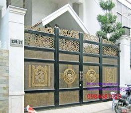 Cổng nhôm đúc trống đồng cổ điển – Nhôm đúc Hoàng Gia