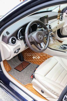 Thảm lót sàn Eco ô vuông 2 chỉ màu nâu da bò Mercedes C