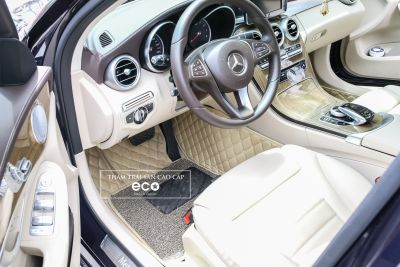 Thảm lót sàn Eco ô vuông 2 chỉ màu kem Mercedes C