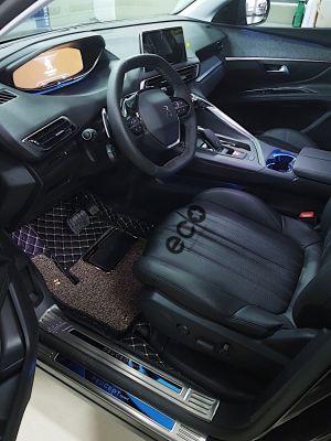 Thảm lót sàn Peugeot 3008 ô vuông 2 chỉ đen