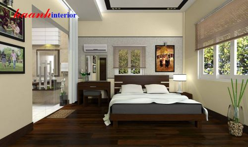 Giường gỗ công nghiệp veneer GNH006