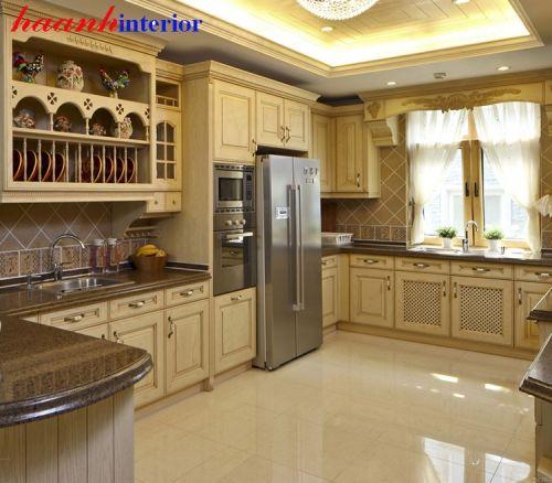 Tủ bếp gỗ sồi tự nhiên BTN017