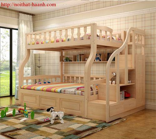 Giường tầng cho bé gỗ tự nhiên.PTE025