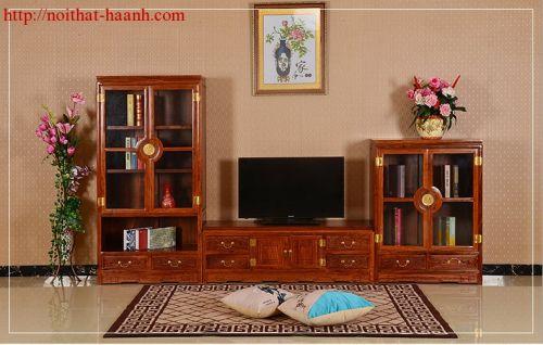 Tủ trang trí phòng khách gỗ tự nhiên TBK010