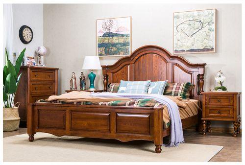 Giường gỗ tự nhiên tân cổ điển châu âu. GNC 030