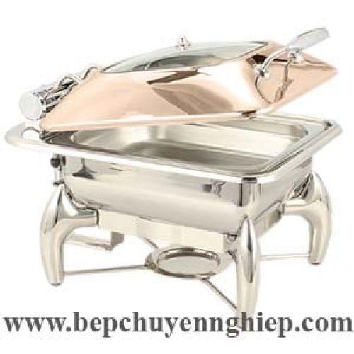Nồi hâm buffet nắp kính ben hơi màu vàng hồng CFK017MJ