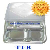 Khay cơm inox 4 ngăn có nắp cho mầm non tiểu học T4-B