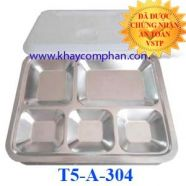 Khay cơm inox 5 ngăn 304 có nắp T5-A-304