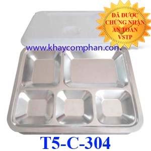 Khay cơm văn phòng 5 ngăn inox 304 T5-C-304