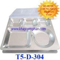 Khay inox 304 5 ngăn có nắp nhựa T5-D-304