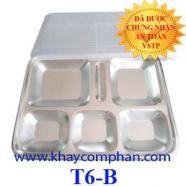 Khay ăn inox 6 ngăn có nắp nhựa trắng T6-B
