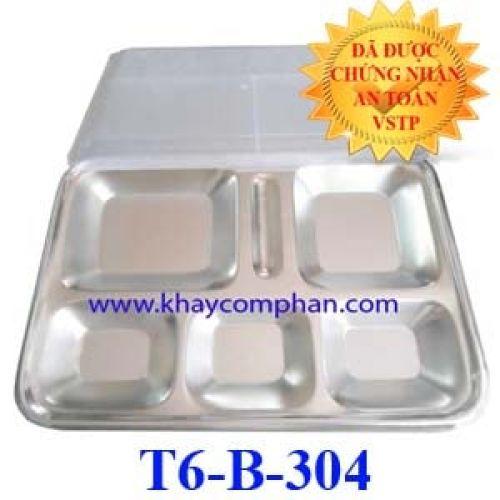 Khay đựng cơm inox 304 6 ngăn T6-B-304